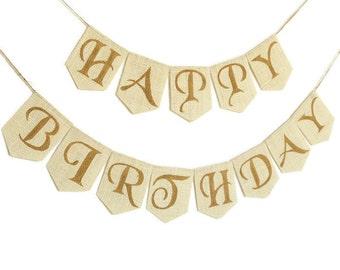 HAPPY BIRTHDAY Bunting Birthday Décor Birthday Banner Birthday Sign Birthday Garland Burlap Birthday Sign Custom Happy Birthday Banner