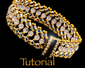 Beadwoven Bracelet Tutorial Luna with seed beads, Half-Tilas, and Gemstones - Instant Digital Download