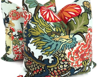Pair of Aquamarine Schumacher Chiang Mai Dragon Decorative Pillow Covers, Toss Pillow, Accent Pillow, Throw Pillow, Pillow sham