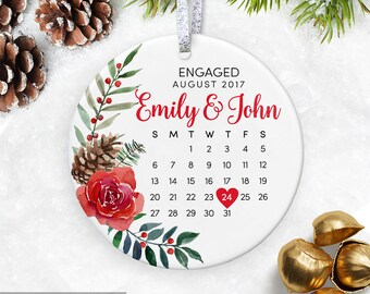 Engagement Gift for Couple Engagement Ornament First Christmas Engaged Ornament Gift for Bride Personalized Ornament