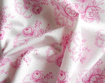 vintage french fabric  antique violet roses floral fabric cotton quilting patchwork fabric farmer style fabric 116
