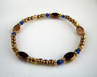 Golden Bronze and Copper Stretch Bracelet with Cobalt Blue Crystals Copper and Bronze Beaded Bracelet