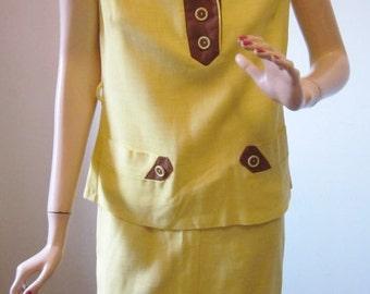 Vintage 70's Dress Summer Suit 2 Piece Sleeveless Vintage 1970s Yellow & Brown Linen