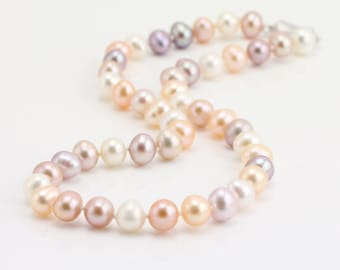 8mm natural multi color freshwater potato near round pearl necklace,mixed color natural pearl necklace,knotted pearl necklace, silver clasp