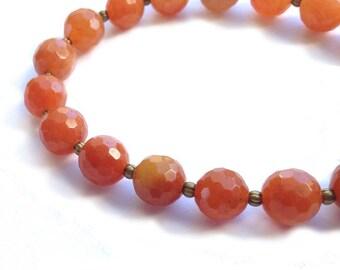 Stretch Bracelet, Faceted Orange Carnelian 8 mm Gemstone Beads