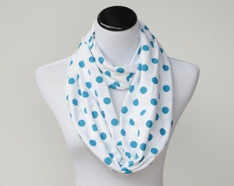 Turquoise dots scarf Infinity scarf polka dot turquoise white scarf soft jersey knit cotton scarf birthday gift for mom & girl