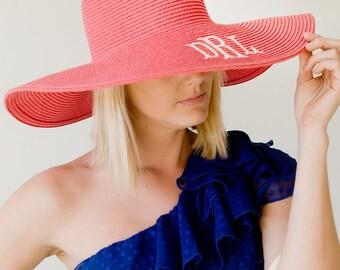 Coral Monogrammed Floppy Sun Hat, Monogrammed Beach Hat, Monogram Derby Hat, Personalized Floppy Hat, Bridesmaid/ Wedding Gift