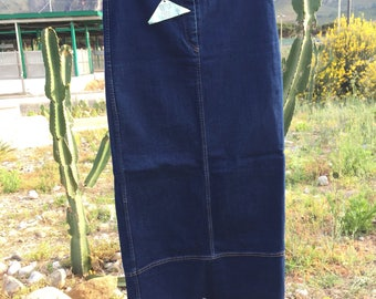 Long skirt jeans vintage denim skirt//90 years semi elastic dark blue//Large skirt//