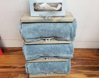Rustic Nautical Wide Four Shelf Towel Rack, Bathroom Decor, Marina Decor, Navy, Sailing