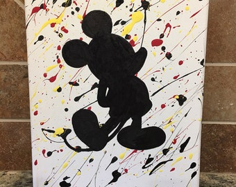 "Mickey Mouse Splatter Paint Canvas 8""x10"""