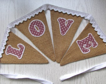 Hessian 'Love' Bunting , Party, Wedding, Fabric, Jute, Burlap,Shabby Chic ,Home Decor, Handmade, Fabric, Home, Home and Garden, Free Postage