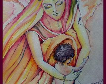 Art Print 'Guardian Angel of Children' Unconditional Love, Goddess of Love, Heavenly Protection, Goddess of Love