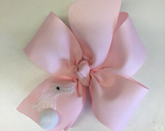 17 Colors, Easter Hair Bow, Bunny Embroidered, Girls Hairbows, Custom Boutique, 4 inch pinwheel, personalized gift, rabbit