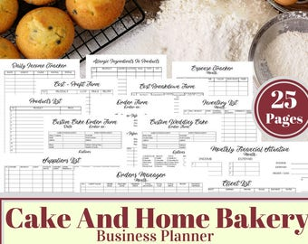 Cake And Bakery Business Planner, Financial and Management Printable Forms, Business Finance, Recipe Calculator, Cupcake Business