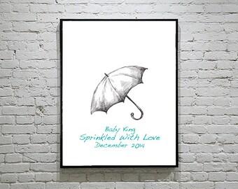 Baby Shower Umbrella Thumbprint Guest Book Fingerprint Alternative Raindrops Art Set 3