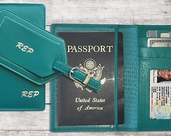 Personalized Passport Wallet Cover and Luggage Tag, Bridesmaid Gift, Destination Wedding Gift,Leather Travel Wallet,Travel Wallet Organizer