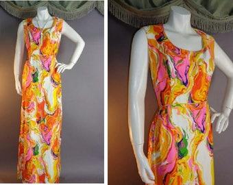 Vintage 1960s 60s PINK ORANGE PSYCHEDELIC Swirls cotton silk twill white purple green maxi dress