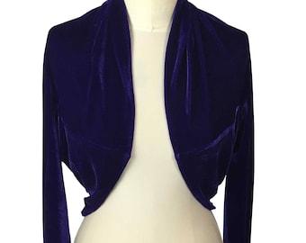 Baylis and Knight Purple velvet bolero