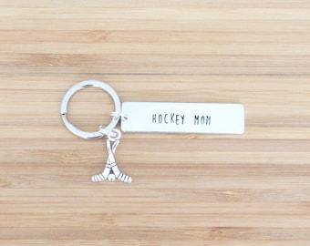 hand stamped keychain   hockey mom