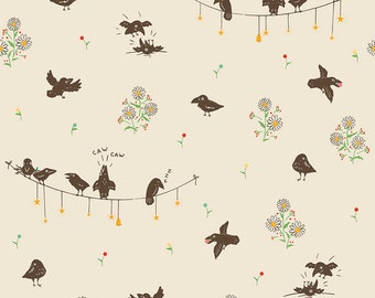 Penny Rose Fabric by the Yard, Calico Crow Crowded, by Lauren Nash for Riley Blake Designs, C7301-CREAM
