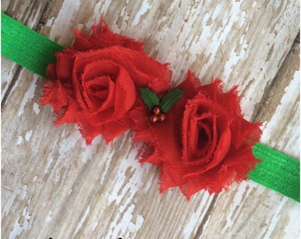SALE Red & Green Holly Headband, Holiday Headband, Baby Headband, Toddler Headband, Girls Bow, Adult Elastic Headband, Christmas Hair Bow