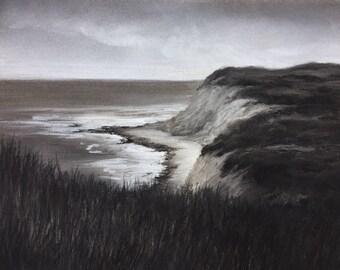 "Original coastal charcoal and pastel drawing, 10.25"" x 13.25"""