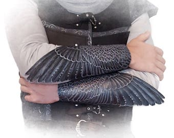 Falcon wings - Pair of hand tooled leather winged bracers with iridescent silver-blue-bronze sheen - Carnival, LARP, theater costume