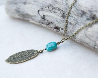 Turquoise Leaf Necklace, Boho Necklace, Nature Necklace, Leaf Pendant, Brass Leaf Necklace, Jewelry for mom, Long Leaf Necklace, Sister gift