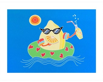 Fizzy lemon, an A5 print of a lemon relaxing at the beach with a lemonade. Summertime fun!