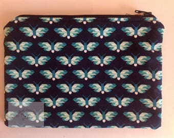 """8"""" Make Up Bag  - Teal Butterflies on Navy     -  Gift for Her, Gift for Wife, Gift for Women , Gift for Mum"""