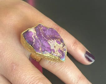 Gemstone Ring ,Quartz ring, Purple Ring, Gold Filled Ring, Adjustable ring
