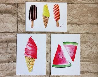 3 cartes postales de he avec des thèmes de l'été