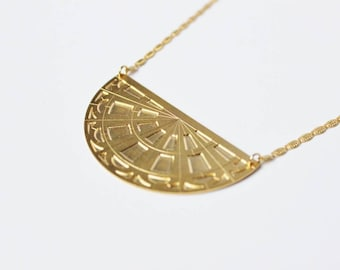 Necklace fine pendant geometric architecture brass gilded C02 you miss