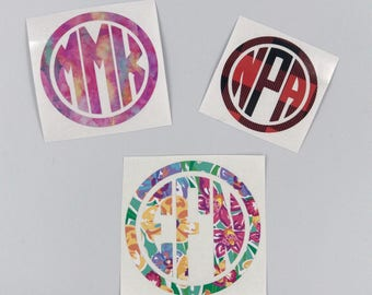Custom Monogram Decal| Circle Monogram| Preppy Decal| Personalized Decal| Monogram Gift|Printed Decal| Tumbler Decal| Car Decal