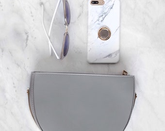 Gray and White Marble Case with Gold Ring Grip For iPhone and Samsung Galaxy Phone Stand Holder