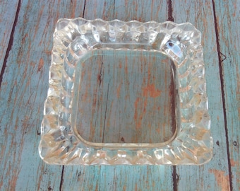 Vintage Cut Glass Ashtray, Glass Ashtray, Square Glass Ashtray