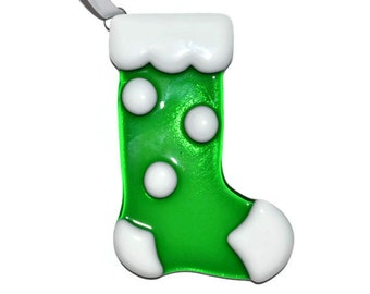 Christmas Stocking Ornament, Fused Glass, Suncatcher, Tree Ornament, Christmas Decor, Green with White Polka Dot