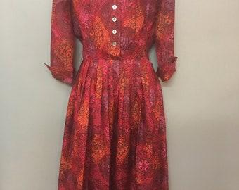 1970's McKettrick Red Silk Day Dress
