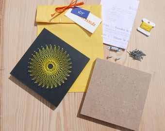 Kit beginning weaving yellow string art mandala adult teenager DIY tutorial textile table round do-it-yourself hobby