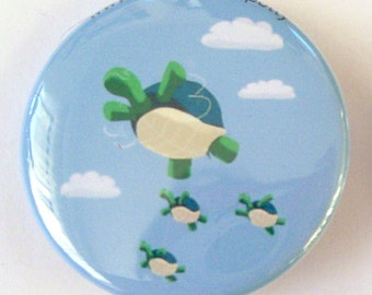 Flying Turtles Pinback Button