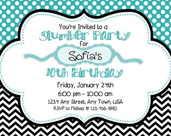 Slumber Party Invitation - Teal