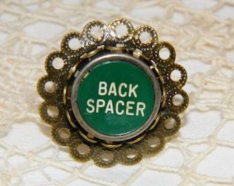 Vintage Green Back Spacer Typewriter Key Ring Bronze Bezel Setting Steampunk Ring Typewriter Key Jewelry Bronze Bezel Ring Flower Loops Ring