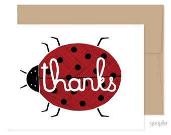 Thanks Lady Bug Card, Lady Bug Thank You, Lady Bug Greetings, Blank Thank You Card, Handmade Thanks Card