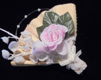 Avon Pink Rose Brooch, Avon Floral Fan Pin, Boho Corsage Pin, Rattan Wicker Lace Brooch Vintage 1990's Mothers's Day Wedding Anniversary