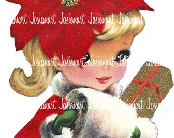 Christmas Girl Digital - Vintage Digital Download - Poinsettia Christmas Image -  Vintage Image Large JPG PNG - Victorian Xmas GIrl