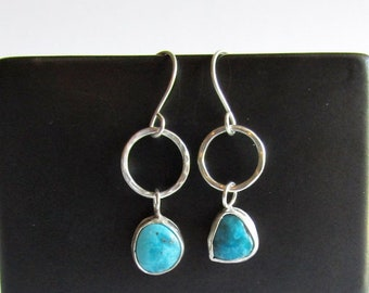 Arizona Turquoise Earrings - Hammered Sterling Silver Hoop Earrings - Mismatched Turquoise Earrings - December Birthstone