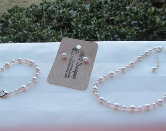 Flower Girl Jewelry White or Ivory Swarovski Pearls and Vintage Rose Crystals Bridal Jewelry Set