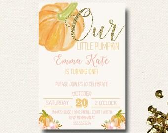 Pumpkin First Birthday Invitation Pumpkin Invite Girls Birthday Invitation Pink Glitter DIY Printable
