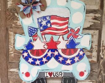 Patriotic Door Hanger - American Flag Door Hanger - Patriotic Decor - Summer Door Decor - Fourth of July Door Hanger - USA Decor