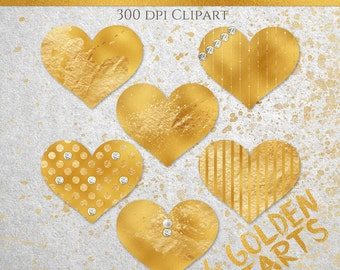 Gold Glam Heart Clipart, Embellishments, Commercial Use